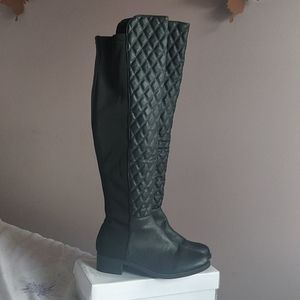 Steve Madden Black Quilted Over the Knee Boots